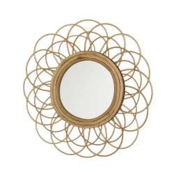 Espejo rattan natural marrón moderno para salón de 50 cm