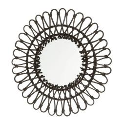 Espejo rattan negro moderno para salón factory de 55 cm