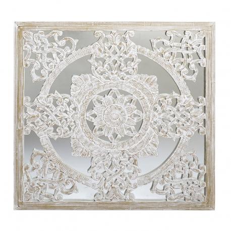 Mural decoracion tallada natural con fondo cristal envejecido 90x90 cm