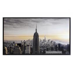 Cuadro en lienzo New york enmarcado blanco 144x84 cm