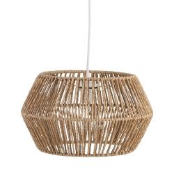 Lámpara de techo rústica con tulipa forrado fibra beige de 35 cm
