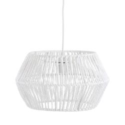 Lámpara de techo rústica con tulipa forrado fibra blanca de 35 cm