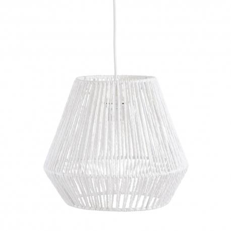 Lámpara de techo rústica con tulipa forrado fibra blanca de 32 cm