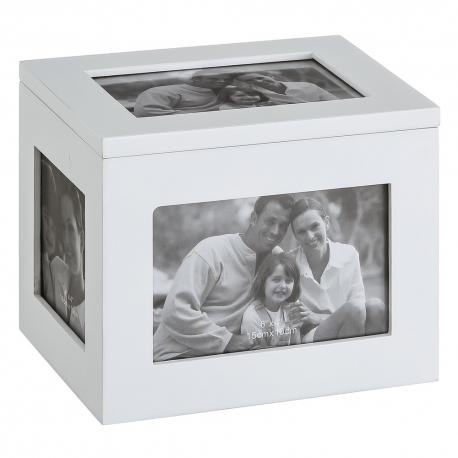Caja portafotos blanca de madera moderna para decoración Vitta