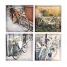 Set 4 cuadro lienzo bicicleta 40x40 cm
