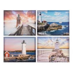Set 4 cuadro lienzo paisaje mar faro 40x50 cm