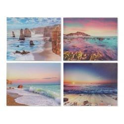 Set 4 cuadro lienzo paisajes playa 40x50 cm