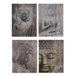 Set 4 cuadro lienzo buda oriental 50x70 cm