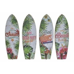 Set 4 cuadro de pared madera perchero vintage TROPICAL 22x7 cm .
