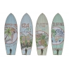 Set 4 cuadro de pared madera perchero vintage Surf Tropical Aloha 7x22 cm .