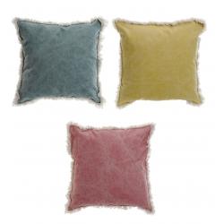 Juego de 3 cojínes colores de algodon con flecos 45x45 cm