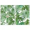 Set 2 cuadro de hojas en lienzo verde étnico para salón de 50 x 70 cm Iris