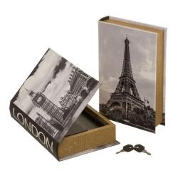 Set 2 caja libro con llave gris de madera clásica para salón France