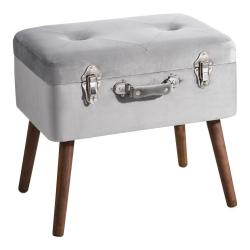Banqueta baúl de terciopelo vintage gris de 50x35x45 cm