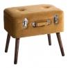 Banqueta baúl de terciopelo vintage marrón de 50x35x45 cm