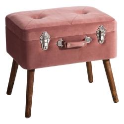 Banqueta baúl de terciopelo vintage coral de 50x35x45 cm