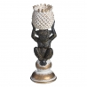 Portavelas mono oro negro poliresina 21 cm