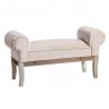 Banqueta pie de cama tapizada de terciopelo y de madera clásica beige de 104x30x54 cm