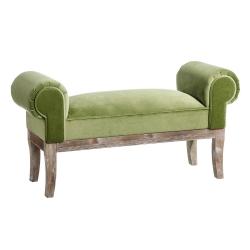 Banqueta pie de cama tapizada de terciopelo y de madera clásica verde de 104x30x54 cm