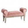 Banqueta pie de cama tapizada de terciopelo y de madera clásica rosa de 104x30x54 cm