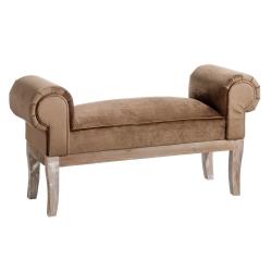 Banqueta pie de cama tapizada de terciopelo y de madera clásica marrón de 104x30x54 cm