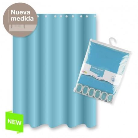 Cortina baño poliester azul color basica 180x200 cm