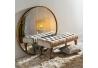 Banqueta capitoné tapizada de terciopelo y de madera clásica beige de 99x38x40 cm