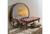 Banqueta capitoné tapizada de terciopelo y de madera clásica rosa de 99x38x40 cm