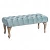 Banqueta capitoné tapizada de terciopelo y de madera clásica azul de 99x38x40 cm