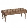 Banqueta capitoné tapizada de terciopelo y de madera clásica marrón de 99x38x40 cm