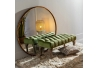 Banqueta capitoné tapizada de terciopelo y de madera clásica verde de 99x38x40 cm