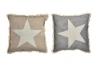 Set 2 cojines estrella de algodon 45x45 cm