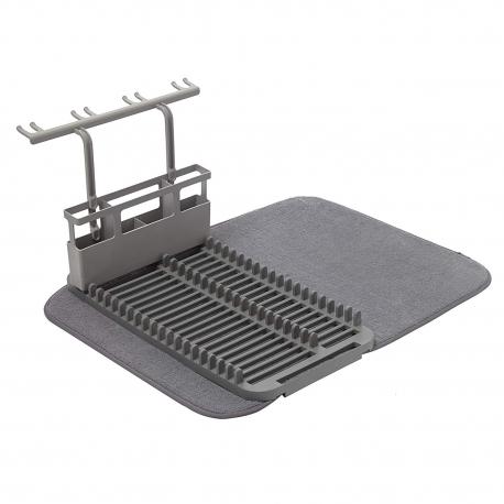 Escurreplatos y escurridor de microfibra (plegable, ahorra espacio y es fácil de guardar, 60 x 45 cm), color gris oscuro