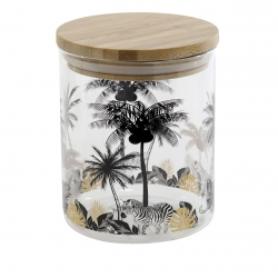 Tarro borosilicato cristal con tapa de bambú 700 cc. palmeras