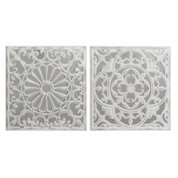Conjunto de Murales decoracion pared madera tallada y cristal 39x39 cm