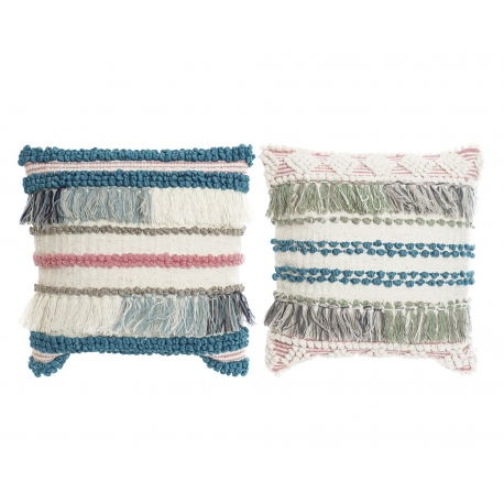 Set 2 cojines de algodon lana 45x45 cm