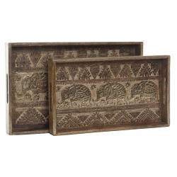 Pack 2 Bandeja de madera mango tallado elefantes decape