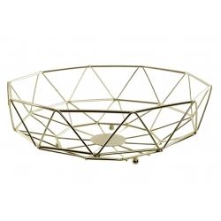 Frutero de metal dorado geometrico 28x28x9 cm