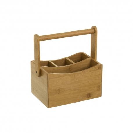 Cubertero portátil marrón rústico de bambú de 20x14x12 cm