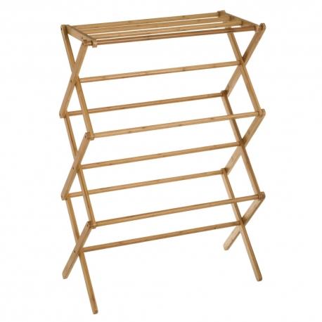 Toallero plegable marrón de bambú de 71x36x105 cm