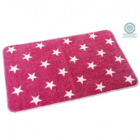 Alfombra baño moderna diseño estrella rosa 45x70 cm