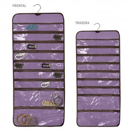 Organizador joyero doble con percha lila 45 x 95 cm 32 bolsillos en cada cara.