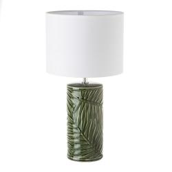 Lámpara de mesa de hojas exótica de cerámica verde de 51 cm