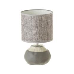 Lámpara de mesita de noche shabby chic de cerámica gris de 26 cm