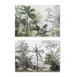 Set 2 cuadro lienzo selva tropical hojas