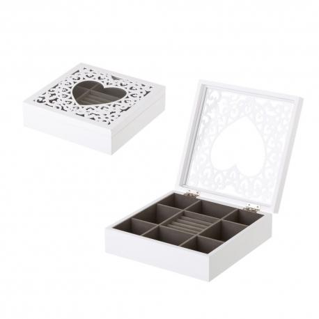 Joyero con corazón de madera blanco romántico para dormitorio Vitta