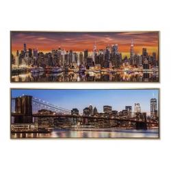 Set 2 cuadro lienzo skyline enmarcado city