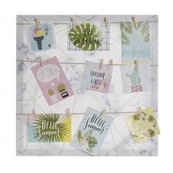 Portafotos lienzo tropical con 12 pinzas para fotos y notas