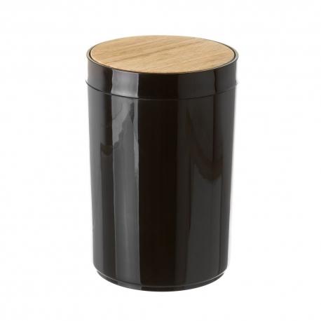Papelera negro poliestireno tapa de bambú. capacidad de 5 litros.