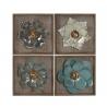 Conjunto de Murales decoracion pared madera y metal flores 30x30 cm